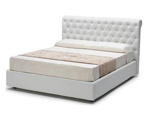 letto contenitore matr. in ecopelle shamir bianco - 218x115x175 cm