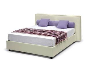 letto contenitore matr. in ecopelle melita beige - 220x80x185 cm