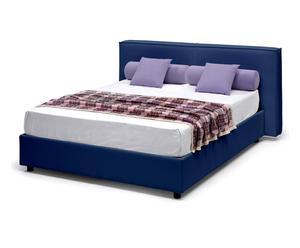 letto contenitore matr. in ecopelle melita blu - 220x80x185 cm