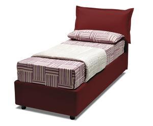 letto contenitore singolo in ecopelle rose rosso - 205x95x95 cm