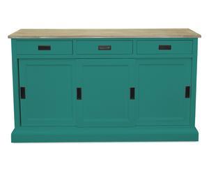 mobile buffet in legno massello MARGOT verde - 150x43x80 cm