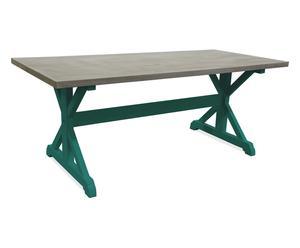tavolo in legno massello MARGOT verde - 200x98x78 cm
