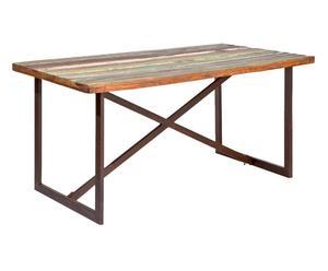 Tavolo in legno massello e metallo Etnic Vintage - 160x76x90 cm