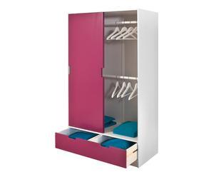 Armadio pensile con 2 ante e 1 cassetto rosa - 98x180x53 cm