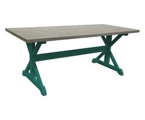 Tavolo in legno massello MARGO verde acqua - 200x90x78 cm