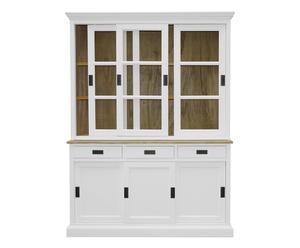Credenza a 6 ante e 3 cassetti in legno bianco - 152x43x204 cm