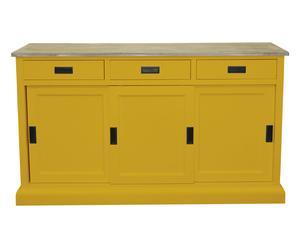 Credenza a 3 cassetti e 3 ante in legno giallo - 150x43x88 cm