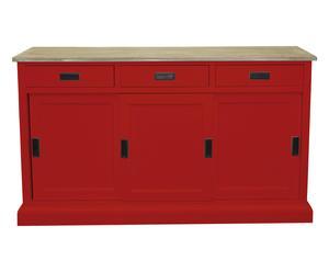 Credenza a 3 cassetti e 3 ante in legno rosso - 150x43x88 cm