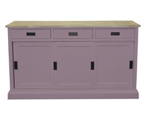 Credenza a 3 cassetti e 3 ante in legno lilla - 150x43x88 cm
