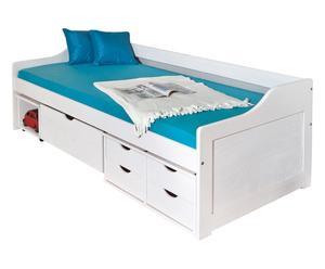 Struttura letto in legno massello bianco Leon - 206x70x97 cm