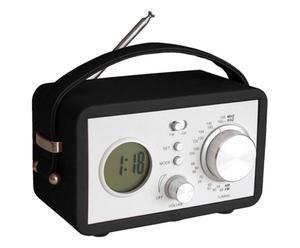 Radiosveglia portatile in ecopelle e metallo nera - 20x13x6 cm