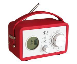 Radiosveglia portatile in ecopelle e metallo rossa - 20x13x6 cm