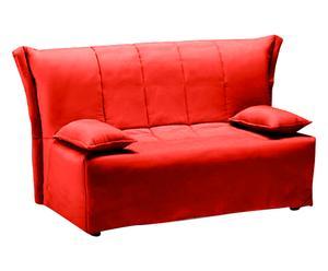 Divano letto a 2 posti in cotone rosso - 120x90x85 cm