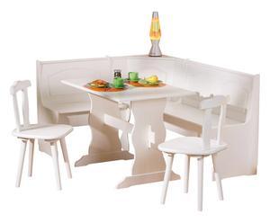 Set Corner di 1 panca ad angolo, 1 tavolo e 2 sedie - naturale