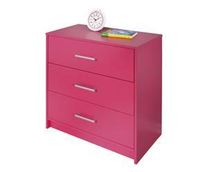 Cassettiera a 3 cassetti in legno massello rosa - 70x71x35 cm