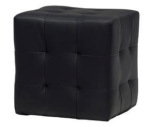 Pouf in ecopelle nero Elisa - 45x45x45 cm
