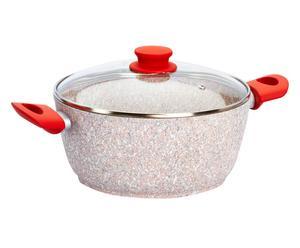 casseruola con coperchio rivestito in quarzi di granito stonerose rosso - d 24 cm