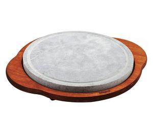 Pietra ollare con base in legno - d 30 cm