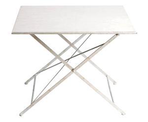 tavolo quadrato pieghevole in ferro Romantic bianco - 100x100x79 cm