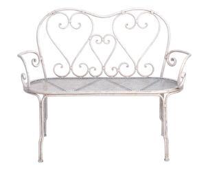divanetto a 2 posti in ferro Romantic bianco - 57x115x90 cm