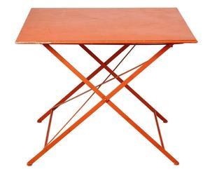tavolo quadrato pieghevole in ferro Romantic arancione - 100x100x79 cm