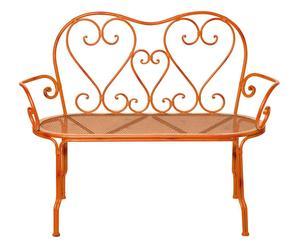 divanetto a 2 posti in ferro Romantic arancione - 57x115x90 cm