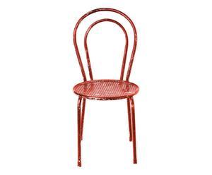 sedia tonda in ferro Romantic arancione - 42x42x90 cm