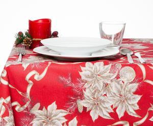 Tovaglia in 100% cotone Stella di Natale rosso - 140x300 cm