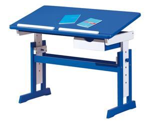 Scrivania regolabile in pino massello Homework blu - 109x62x55 cm