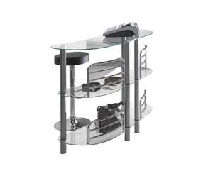 mobile bar in metallo e vetro temprato LUXOR argento - 136x105x40 cm
