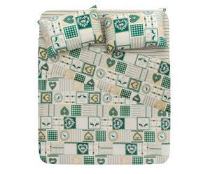 Completo lenzuola matrimoniale in cotone Corvara verde - 4 pz