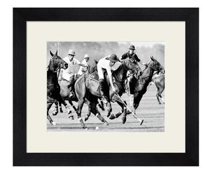 Stampa con cornice in legno polo players england back - 60x50x4 cm
