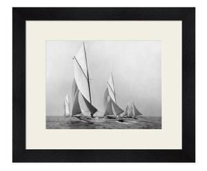 Stampa con cornice in legno sailboats sailing downwind - 60x50x4 cm