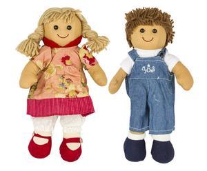 Set di 2 bambole in lana e cotone My Doll - Jacqueline + Daniel