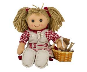Bambola in cotone e lana Sarta con cestino e ricami - H 42 cm