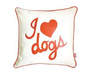 Cuscino per cani in cotone i love dogs arancione - 50x50 cm