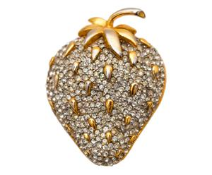 Spilla a fragolina in metallo dorato - anni '60