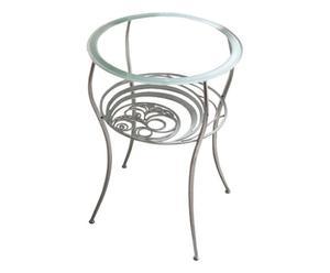 tavolino in ferro battuto e vetro temperato jupiter - d 52/h 66 cm