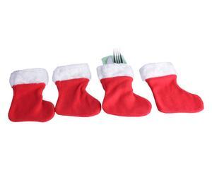 Set di 4 porta posate a calza di Natale - S