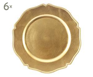 Set di 6 sottopiatti in plastica glitter oro - d 33 cm