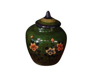 Vaso antico in gesso con decoro floreale isamu verde - 40x45 cm