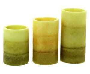 Set di 3 candele elettriche con telec. verbena - max 7,5x20 cm