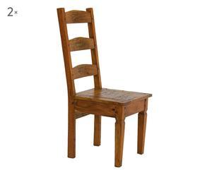 Set di 2 Sedie a schienale alto in legno chateaux - 45x45x105 cm