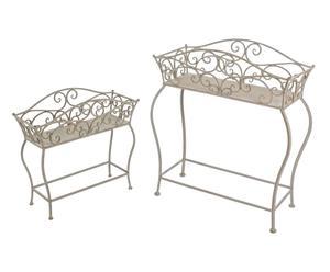 Set di 2 portafiori con alzata in ferro grigio - max 70x84x31 cm