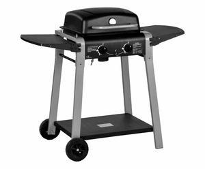 Barbecue a 2 fuochi con piastra di ghisa in accaio inox - 110x95x52 cm