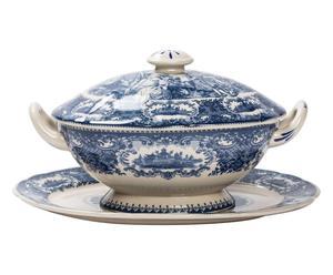 Zuppiera con vassoio in ceramica - 30x17x20 cm