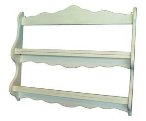 Piattaia in legno con 2 ripiani bianco - 84x68x12 cm