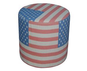Pouf in legno e tessuto con bandiera USA - 40x42 cm