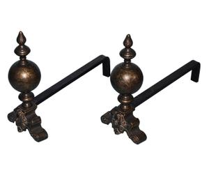 Coppia di alari in ottone classici - 19x50x40 cm