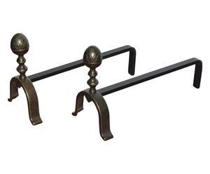 Coppia di alari in ottone stile vintage - 14x38x22 cm